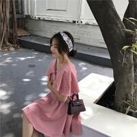 新款连衣裙 夏季新款韩版2019时尚气质荷叶袖v领高腰格子裙连衣裙女 均码
