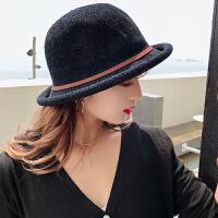 帽子女春秋小礼帽潮英伦装饰百搭韩版卷边时尚盆帽复古优雅渔夫帽