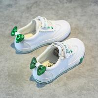 儿童皮鞋女童白鞋公主单鞋蝴蝶结休闲板鞋