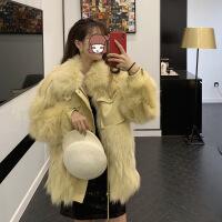 皮毛一体外套女2019冬季新款韩版收腰修身短款时髦狐狸毛皮草大衣