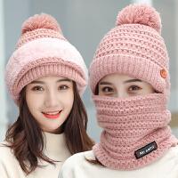 毛线帽子女秋冬季帽子围脖一体加绒加厚时尚百搭休闲防风护耳保暖