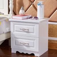 床头柜白色烤漆简约现代欧式卧室边柜储物柜多功能经济型40cm 02白色48宽 金色拉手 组装