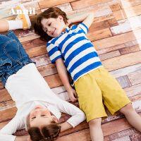 【每满200-120】安奈儿童装男童POLO衫短袖夏季薄2019新款中大童纯棉翻领条纹T恤