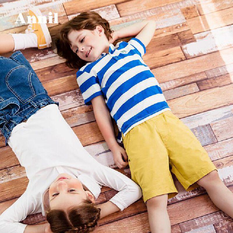 【每满200-120】安奈儿童装男童POLO衫短袖夏季薄2019新款中大童纯棉翻领条纹T恤 经典条纹,新颖撞色,动物章仔,多色可选