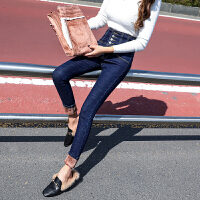 安妮纯高腰牛仔裤女长裤弹力显瘦百搭女裤子加绒铅笔小脚裤
