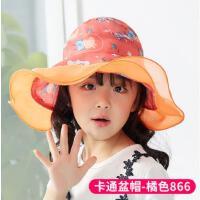 儿童帽子春夏空顶帽女童帽子时尚大檐宝宝太阳帽遮阳帽夏