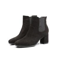 新款欧美风马丁靴女时尚简约粗跟短靴方头绒面高跟女鞋靴