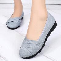 北京老布鞋女新款 软底滑大码豆豆鞋-春秋中年妈妈单鞋软底