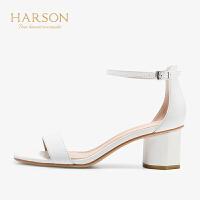 【秋冬新款 限时1折起】哈森夏季通勤高跟露趾凉鞋HM98419