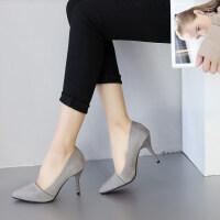单鞋女鞋红色婚鞋黑色高跟OL工作鞋女秋季韩版尖头高跟鞋性感细跟