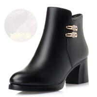 妈妈棉鞋冬季软底中年女靴加绒保暖棉靴粗跟中跟短靴女士单靴 黑色 8902 -加绒棉靴