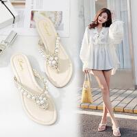 新款拖鞋女夏外穿时尚夹趾珍珠人字拖鞋防滑坡跟沙滩鞋外穿潮