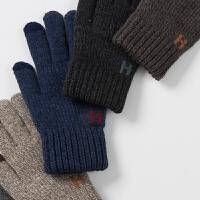 针织触屏男士手套冬天男学生防寒加厚五指毛线手套男冬保暖加绒