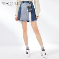 牛仔半身裙女2019春季新款时尚拼接短裙毛边A字裙子女太平鸟女装