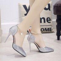 高跟鞋细跟银色亮片公主性感一字带串珠镂空单鞋尖头显瘦伴娘鞋女