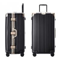 轻加厚运动款拉杆箱万向轮30寸大容量旅行箱男大号行李箱32寸可商务 黑配金 铝框材质铂金款