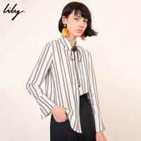 【不打烊价:183元】 Lily春新款女装气质条纹通勤宽松白色长袖衬衫119140C4226