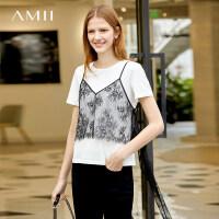 【预估价108元】Amii极简原宿风拉架棉T恤女2019夏季新款睫毛蕾丝仙气飘带两件套