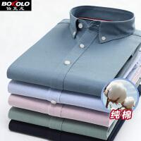 伯克龙 长袖衬衫男士休闲格子衬衣 男装2019年春季新款棉料宽松外套上衣 N909