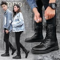 马丁靴情侣款一男一女冬季男靴子英伦高帮黑色韩版保暖棉鞋 黑色加绒