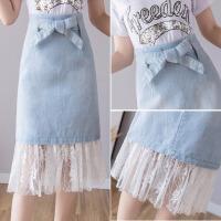 牛仔半身裙女夏季新款韩版高腰显瘦a字裙拼接蕾丝网纱牛仔裙