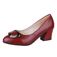 2018春妈妈鞋单鞋新款软底中年女鞋中跟粗跟小皮鞋女