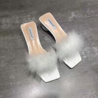 夏季新款透明胶方头露趾一字型套脚圆球鞋跟毛毛凉拖鞋中跟女鞋