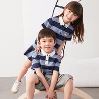 【秒杀价:153元】马拉丁童装男童T恤2020夏装新款洋气撞色POLO领短袖T恤