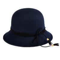 毛呢帽女英伦复古大檐帽圆顶帽羊毛呢礼帽爵士帽潮女毡帽
