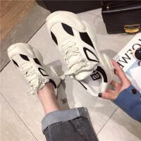运动休闲鞋女2019春季新款时尚真皮松糕厚底系带学生运动跑步鞋