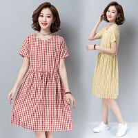 2020新款韩版中长款格子l连衣裙 棉麻大码遮肚子裙子女