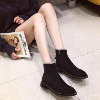 短靴女2018新款时尚韩版学生百搭厚底弹力瘦瘦靴英伦风时尚短靴女