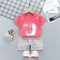 儿童套装 男女童可爱卡通印花时尚短袖短裤2020夏季新款韩版中小童条纹字母两件套