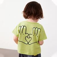 【秒杀价:77元】马拉丁童装男女小童t恤2020春夏新款涂鸦印花百搭短袖T恤