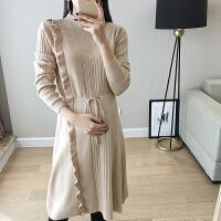 上衣韩版毛衣裙 孕妇冬装连衣裙时尚款2018新款针织拼接打底衫秋装