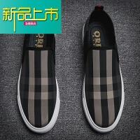 新品上市懒人鞋男豆豆鞋潮流韩版休闲鞋内增高帆布鞋低帮百搭潮鞋鞋男