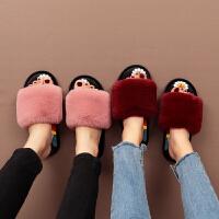棉拖鞋女冬季家用保暖厚底防滑外穿可爱毛绒室内韩版女士拖鞋秋冬