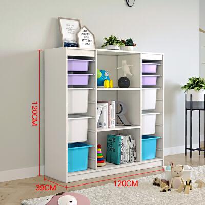 儿童玩具收纳柜实木宝宝书架绘本架玩具柜分类收纳架大容量 3*8玩具柜