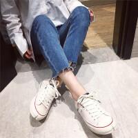 真皮小白鞋女2019春款新品圆头休闲运动鞋系带休闲牛皮板鞋平底鞋