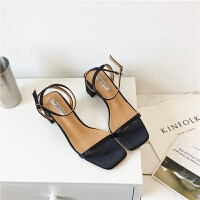 一字带凉鞋女夏新款简约绸缎中跟女鞋粗跟罗马夏季晚晚鞋