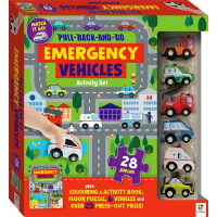 英文原版 Pull-Back-And-Go: Emergency Vehicles 亲子互动游戏玩具书 附赠救护车