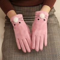 触屏手套女冬季韩版可爱卡通学生保暖加绒加厚户外防寒骑开车手套