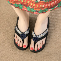高跟拖鞋女夏外穿时尚人字拖女厚底坡跟凉拖复古沙滩鞋 txe-0918 黑色