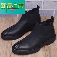 新品上市男士短靴韩版尖头马丁靴男鞋子百搭皮靴英伦靴高帮皮鞋