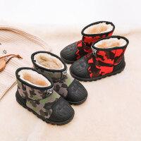 儿童雪地靴 男女童冬季防滑加绒棉鞋2019新款男女孩加厚短靴中大童学生保暖靴子