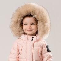 [2件3折价:258.9]davebella戴维贝拉童装冬季新款女童宝宝90绒保暖羽绒服DBM9201