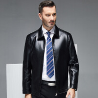 中年男士皮衣秋冬款父亲皮夹克短款翻领纯色薄款休闲外套40-50岁