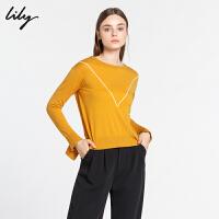 Lily冬新款女装全羊毛撞色线条圆领红色毛针织衫118400B8C06