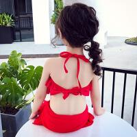 夏装女童泳衣分体式儿童可爱宝宝比基尼挂脖泳装