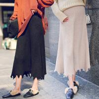 中长款针织裙半身裙潮 2018秋冬季新款孕妇装伞裙时尚流苏毛边